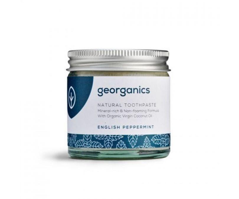 GEORGANICS Mineralna miętowa pasta do zębów w słoiku bez fluoru i gliceryny English Peppermint 60ml